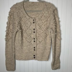 Free People wool linen sweater cardigan size M